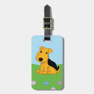 Etiqueta De Bagagem Filhote de cachorro bonito de Kawaii Airedale no
