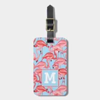 Etiqueta De Bagagem Flamingos cor-de-rosa brilhantes no monograma do