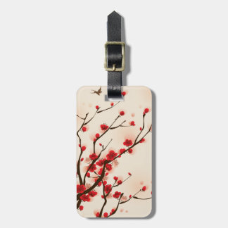 Etiqueta De Bagagem Flor asiática da ameixa da pintura do estilo no