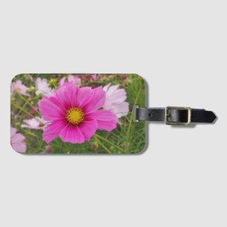 Etiqueta De Bagagem Flor cor-de-rosa bonito do cosmos