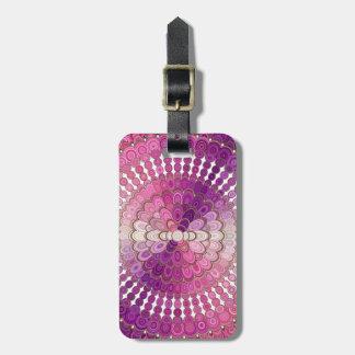 Etiqueta De Bagagem Flor cor-de-rosa e roxa da mandala