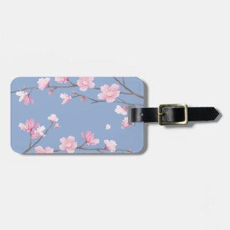 Etiqueta De Bagagem Flor de cerejeira - azul da serenidade