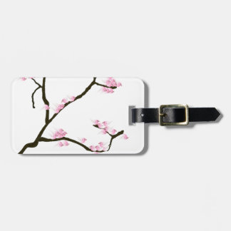 Etiqueta De Bagagem flor de sakura com pássaros cor-de-rosa, fernandes
