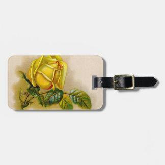 Etiqueta De Bagagem Flor do Victorian do vintage do rosa amarelo