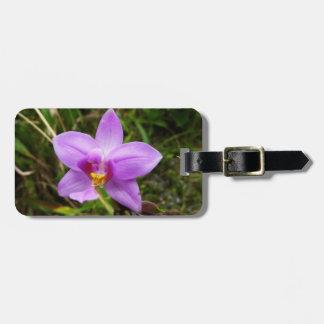 Etiqueta De Bagagem Flor tropical roxa da orquídea selvagem
