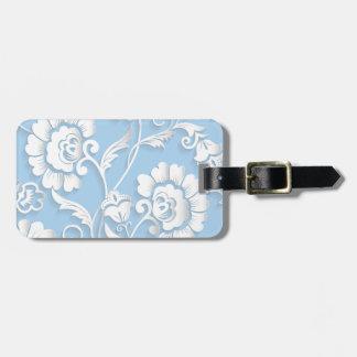 Etiqueta De Bagagem Flores brancas em azuis bebés