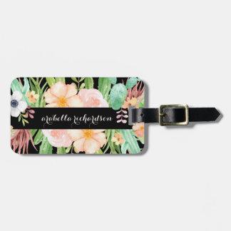 Etiqueta De Bagagem Flores da meia-noite do Succulent