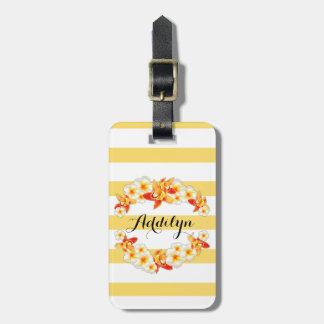 Etiqueta De Bagagem Flores da orquídea e do Plumeria, elegantes