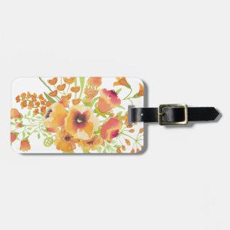 Etiqueta De Bagagem Flores das aguarelas