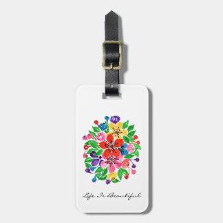 Etiqueta De Bagagem Flores do arco-íris da aguarela