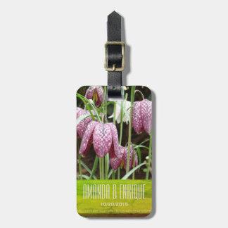 Etiqueta De Bagagem Flores do Fritillary roxo e branco