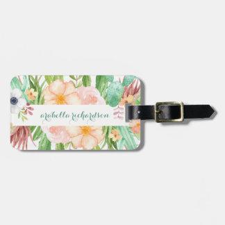 Etiqueta De Bagagem Flores do Succulent da aguarela no branco