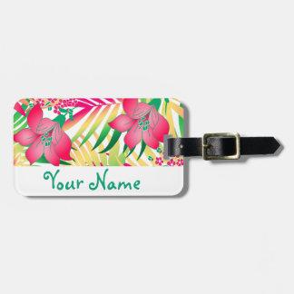 Etiqueta De Bagagem Flores tropicais coloridas