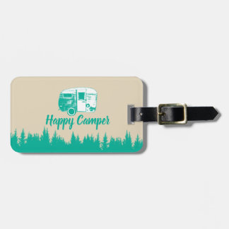 Etiqueta De Bagagem Floresta rústica de acampamento do campista feliz