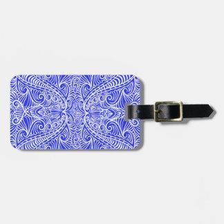 Etiqueta De Bagagem Fluxo elegante dos azuis marinhos