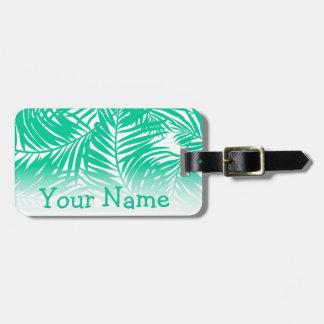 Etiqueta De Bagagem Folhas de palmeira verdes tropicais