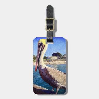 Etiqueta De Bagagem Foto bonito do pássaro do pelicano do cais da