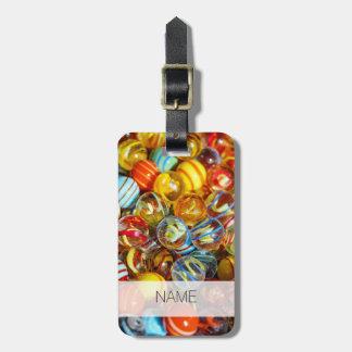 Etiqueta De Bagagem fotografia de mármore de vidro colorida bonita das