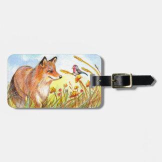Etiqueta De Bagagem Fox e pássaro em The Field