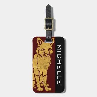 Etiqueta De Bagagem Fox personalizado Borgonha BS do ouro