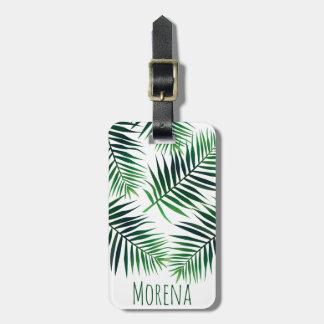 Etiqueta De Bagagem Frondas tropicais elegantes & nome da palma da