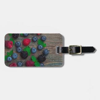 Etiqueta De Bagagem fundo da fruta de baga