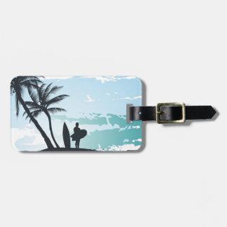 Etiqueta De Bagagem Fundo do surfista do verão da palma