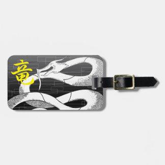 Etiqueta De Bagagem Fundo japonês branco do preto do dragão