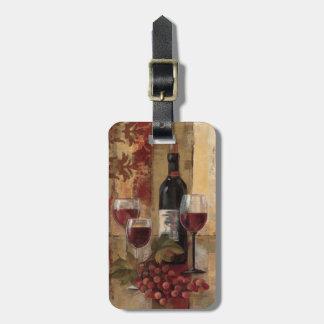 Etiqueta De Bagagem Garrafa de vinho e vidros de vinho