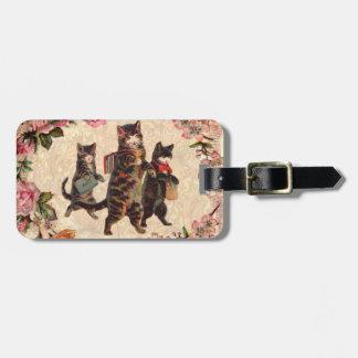 Etiqueta De Bagagem Gatinho antigo bonito dos gatos do vintage