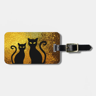 Etiqueta De Bagagem Gatinhos Textured do gato preto de fulgor dourado