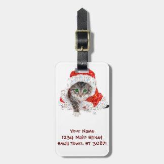 Etiqueta De Bagagem gato de Papai Noel - colagem do gato - gatinho -