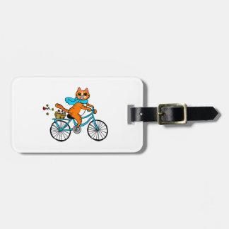 Etiqueta De Bagagem Gato que monta uma bicicleta