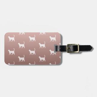 Etiqueta De Bagagem Gatos no ouro cor-de-rosa