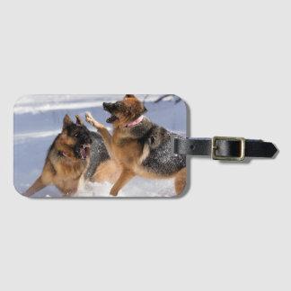 Etiqueta De Bagagem German shepherd que jogam no Tag da bagagem da