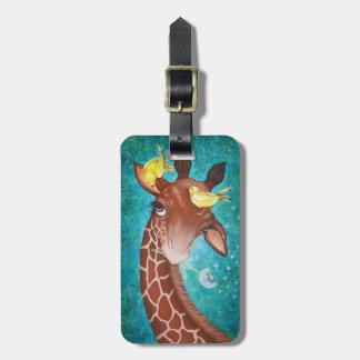 Etiqueta De Bagagem Girafa bonito com pássaros