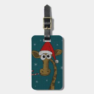 Etiqueta De Bagagem Girafa do Natal