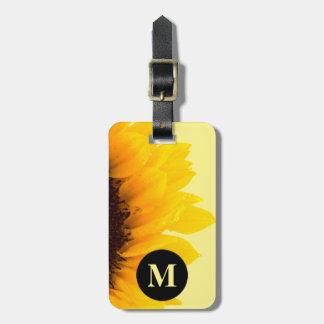 Etiqueta De Bagagem Girassol do amarelo do viagem do monograma no
