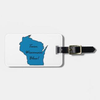 Etiqueta De Bagagem Gire Wisconsin azul! Orgulho Democrática!
