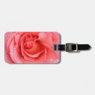 Etiqueta De Bagagem Gotas cor-de-rosa românticas da água cor-de-rosa