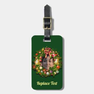 Etiqueta De Bagagem Grinalda do Natal personalizada com sua foto