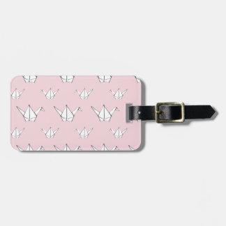 Etiqueta De Bagagem Guindastes cor-de-rosa de Origami