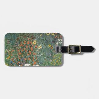 Etiqueta De Bagagem Gustavo Klimt - flores dos girassóis do jardim do