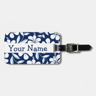 Etiqueta De Bagagem Hibiscus azul & branco