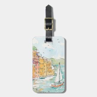 Etiqueta De Bagagem Ilustração do porto de Porofino com veleiro