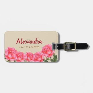 Etiqueta De Bagagem Ilustração floral da arte dos rosas cor-de-rosa da