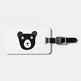 Etiqueta De Bagagem Ilustração preto e branco bonito do urso