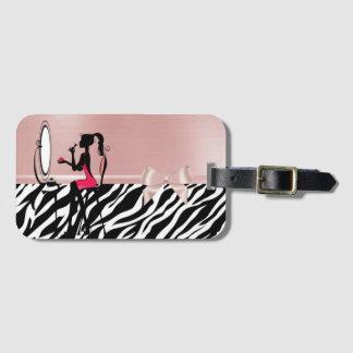 Etiqueta De Bagagem Impressão bonito da zebra, arco da fita, silhueta