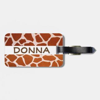 Etiqueta De Bagagem Impressão conhecido do safari do girafa