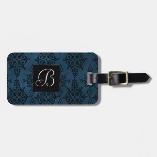 Etiqueta De Bagagem Impressão floral de Paisley do preto azul do